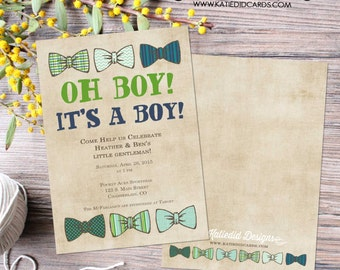 bow tie baby shower invitation little man gentleman oh boy coed sip see diaper wipe first communion baptism birthday | 1204 Katiedid Designs