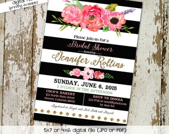couples shower invitation bridal baby coed floral wedding stock the bar I do BBQ engagement party black white stripe   349 Katiedid Designs
