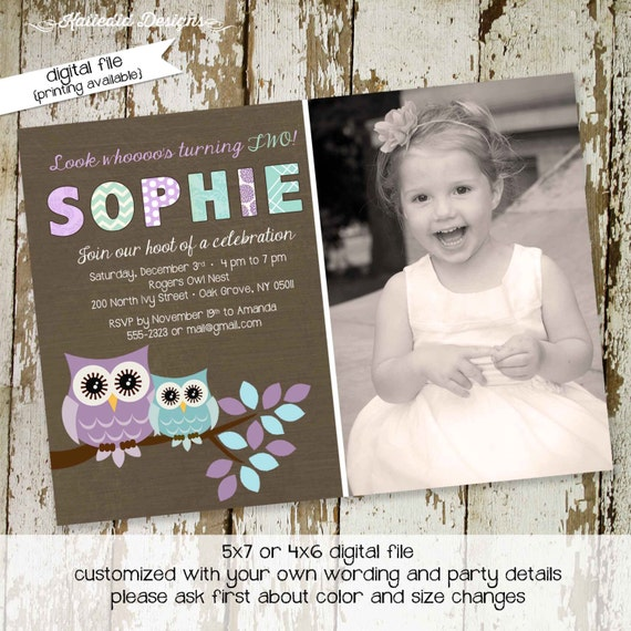owl birthday invitation purple aqua baby shower girl ultrasound photo picture couples coed baptism birth announcement | 257 Katiedid Designs