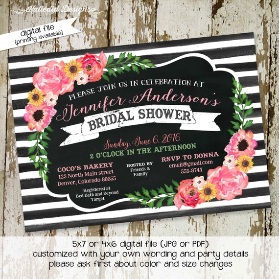 Rehearsal Dinner invitation Couples shower floral bridal black white stripe chalkboard rustic I do BBQ engagement party | 319 Katiedid Cards