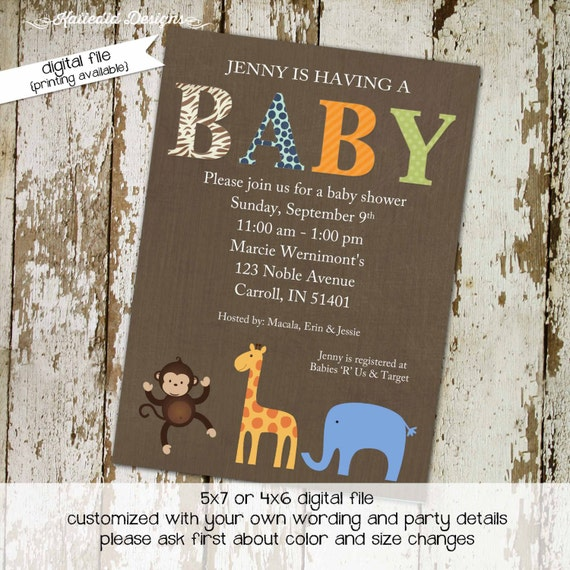 Elephant baby shower invitation boy Safari couples coed gender reveal neutral rustic sprinkle sip see brunch monkey giraffe | 1212 Katiedid