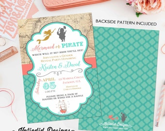 gender reveal invitation Pirate or mermaid baby shower neutral couples coed twins diaper wipes brunch sprinkle sip see | 1421 Katiedid Cards