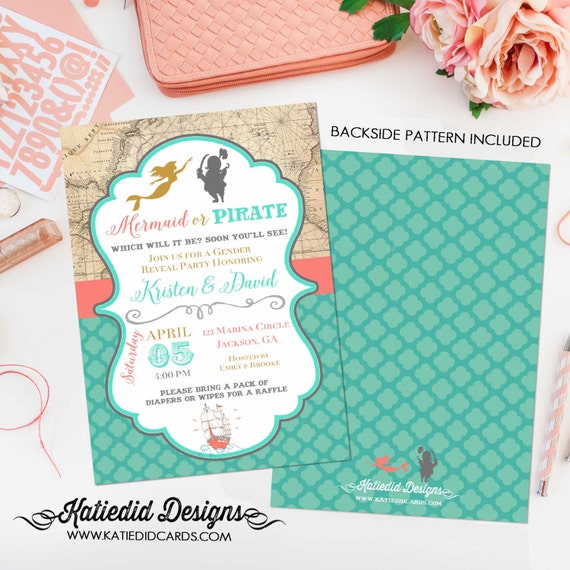 gender reveal invitation Pirate or mermaid baby shower neutral couples coed twins diaper wipes brunch sprinkle sip see | 1421 Katiedid Cards