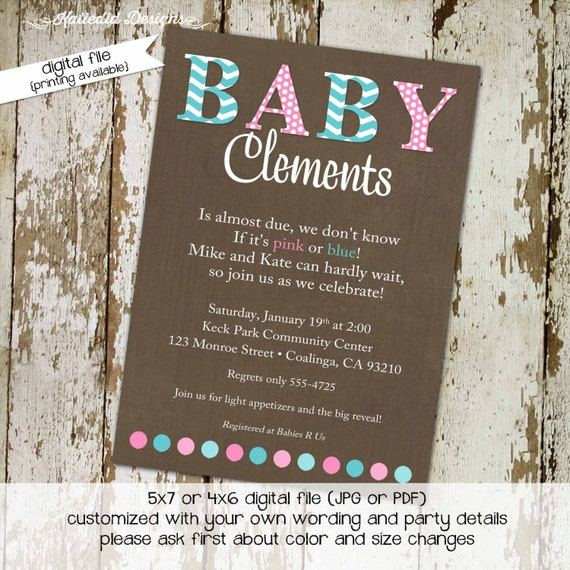 gender reveal invitation couples baby shower boy girl he she pink blue giggles galore diaper wipes coed sprinkle gay | 1441 Katiedid Designs