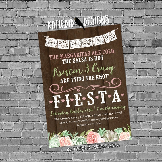 Fiesta Invitation succulent bridal shower papel picado stock the bar I do BBQ engagement party rehearsal dinner day dead | 378 Katiedid
