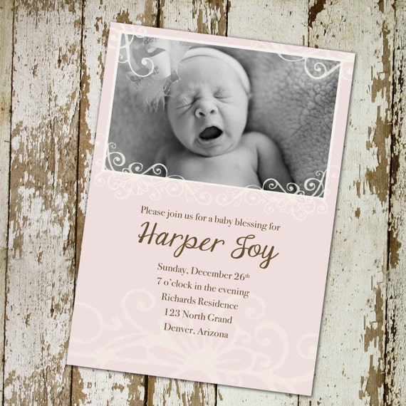 baptism invitation christening baby blessing sip see sprinkle birth announcement mormon LDS couples shower luncheon | 434 Katiedid Designs