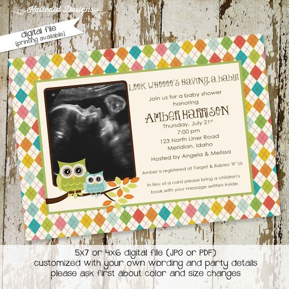 gender reveal invitation owl baby shower ultrasound photo pregnancy announcement picture 1st birthday twins couples sip see | 144 Katiedid