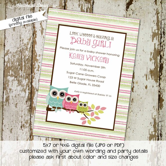 gender reveal invitation owl baby shower couples coed sprinkle neutral sip see birthday baptism diaper wipes brunch | 1332 Katiedid Designs