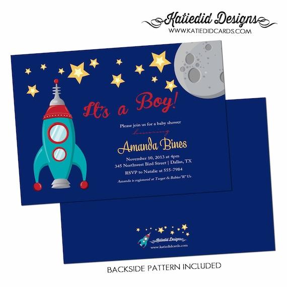 Spaceship couples baby shower invitation boy rocket space moon star coed diaper wipes sip see sprinkle twinkle birthday LGBT | 1273 Katiedid