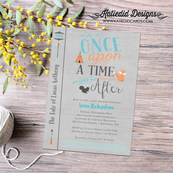 Once upon a time baby boy shower invitation tribal teepee couples coed storybook happily ever after woodland fox gray blue | 12116 Katiedid