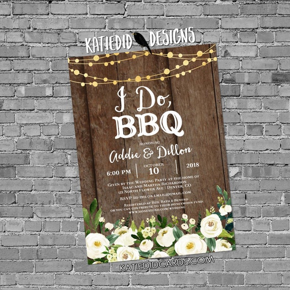 rehearsal dinner invitation Couples Shower bridal wood string light I do BBQ engagement party coed white flowers gay | 376 Katiedid Design