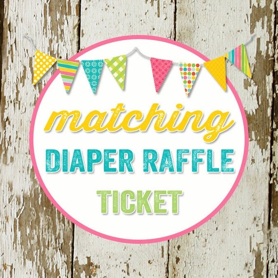 DIAPER RAFFLE TICKET digital and printable file created to match your chosen invite katiedid designs katiedid cards