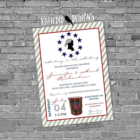 patriotic 4th of july couples baby shower birthday coed sprinkle brunch red white due BBQ revolution stars stripes | 12127 Katiedid Designs
