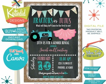 Gender Reveal Invitation Tractor or Tutu, Twins Baby Shower, Burlap and Lace Birthday Party | 1475 Katiedid designs