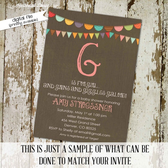 Gender reveal invitation couples baby shower girl twins coed sprinkle sip see diaper wipes neutral giggles galore | 1330 Katiedid Design