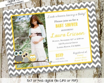 gender reveal invitation Owl baby shower pregnancy announcement neutral couples coed diaper wipes twins sprinkle sip see   1404 Katiedid