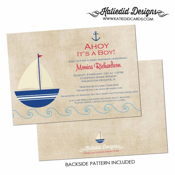 Nautical baby shower invitation Ahoy it's a boy Rustic boy sprinkle sip see baptism Sailboat Anchor diaper wipes brunch gay   1251 Katiedid