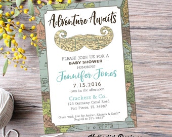 Adventure awaits travel theme world map mustache baby boy shower invitation couples coed twins oh the places you'll go   12119 Katiedid card