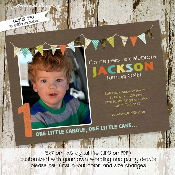 baptism invitation birthday boy picture army camo ultrasound photo pregnancy announcement couples baby shower coed | 239 Katiedid Designs