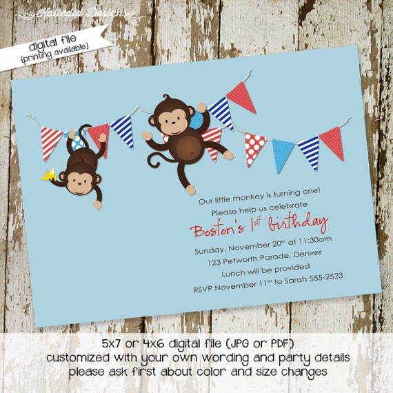 nautical baby shower invitation monkey patriotic birthday red white blue boy couples coed gender reveal neutral sprinkle | 208 katiedid card