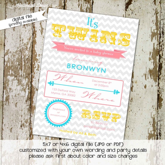 Twins baby shower invitation gender reveal typography chevron couples coed diaper wipes brunch sprinkle sip see neutral gay | 1512 Katiedid