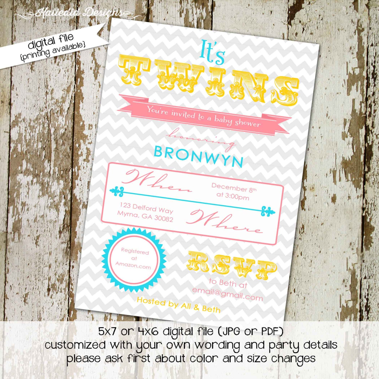 Twins Baby Shower Invitation Gender Reveal Typography