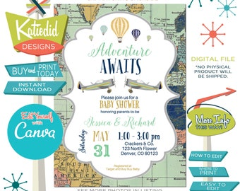 Travel Theme Gender Neutral Baby Shower Invitation or Gender Reveal, Hot Air Balloon Travel Theme for ANY EVENT | 12131 Katiedid Designs