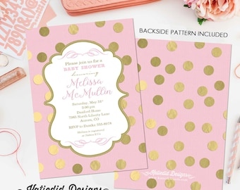 Pink Gold Baby Shower Invitation girl little princess once upon a time coed couples diaper wipes birthday sprinkle brunch   1307 Katiedid
