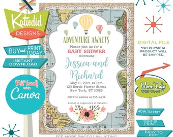 Baby Shower Invitation Gender Neutral, Hot Air Balloon Travel Theme Gender Reveal, Edit for ANY event | 1455 Katiedid Designs