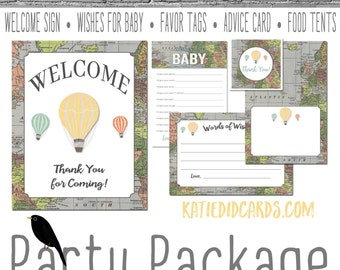 hot air balloon adventure awaits Travel Themed oh the places you'll go baby shower party package game sign wishes   1243 Katiedid Designs