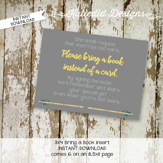 tribal arrows invite Bring a Book instead of a card enclosure card insert storybook theme library rustic baby boy 1297 katiedid designs