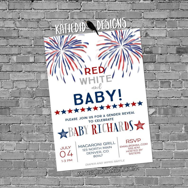 gender reveal invitation baby shower 4th of July couples coed image 0
