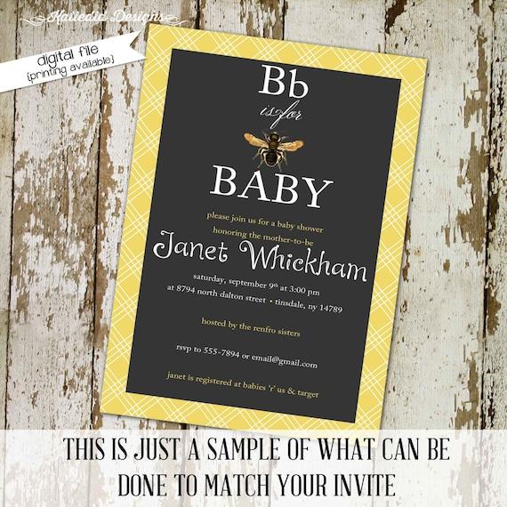 bee baby shower invitation gender reveal couples coed sprinkle sip see brunch diaper wipes twins chalkboard rustic   1440 Katiedid Designs
