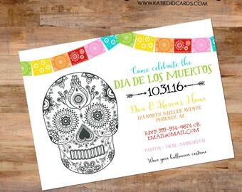 Fiesta dia de los muertos Cinco de mayo tacos margaritas couples shower invitation sugar skull bridal party day dead   873 katiedid designs