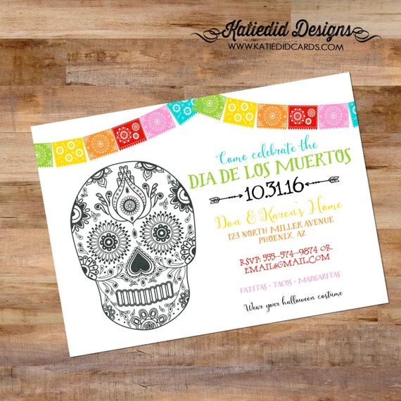 Fiesta dia de los muertos Cinco de mayo tacos margaritas couples shower invitation sugar skull bridal party day dead | 873 katiedid designs