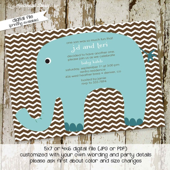 elephant baby shower invitation boy blue chevron couples coed sprinkle sip see diaper wipes brunch twins birthday | 1218 Katiedid Designs