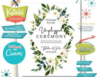 Unplugged Ceremony Sign, Wedding Sign with Gold Poly Frame and White Rose Flowers | 003 Katiedid Designs