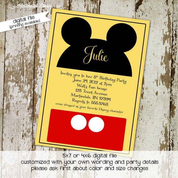 Mickey mouse birthday invitation Disney baby shower gender neutral reveal Diaper wipes Brunch ears theme 1st first | 211 Katiedid Designs