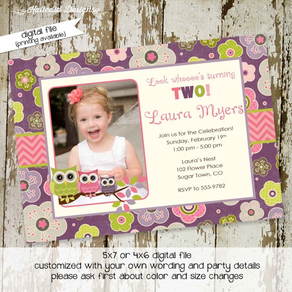 owl birthday invitation baby shower girl photo picture ultrasound pregnancy announcement pink purple floral twins | 217 Katiedid Designs
