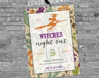 girls night out halloween party invitations adults only Witch on a broom orange purple green | 877 Katiedid Designs