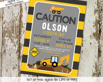 construction birthday invitation baby boy shower couples coed sprinkle sip see black yellow tractor dump truck brunch   253 Katiedid Designs