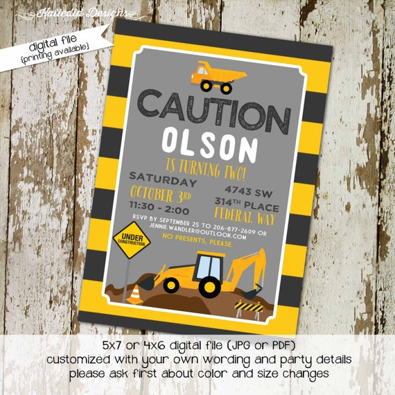 construction birthday invitation baby boy shower couples coed sprinkle sip see black yellow tractor dump truck brunch | 253 Katiedid Designs