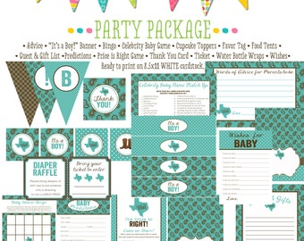 rustic baby boy shower invitation boy oh boy Made in Texas baby shower party package gender reveal party game banner 1227 Katiedid Designs