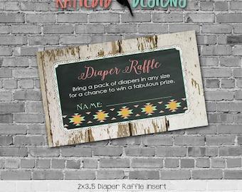 rustic baby girl shower invitation mint coral boho baby shower tribal arrow Diaper raffle ticket insert enclosure card 1439 Katiedid Designs