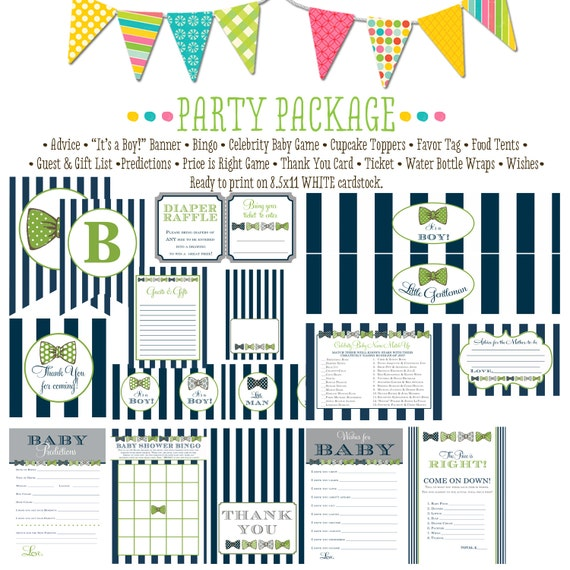 boy oh boy invitation little man bow tie little gentleman baby shower party package gender reveal party game banner 12102 Katiedid Designs
