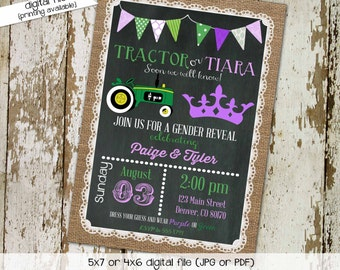 Gender reveal invitation tractor or tiara couples twins baby shower coed burlap lace birthday sprinkle diaper wipes | 1403 Katiedid Designs