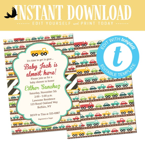 Baby Boy Shower Invitation with Cars, Twin Boys Birthday Party, Editable Invite Templett  | 238 Katiedid Designs
