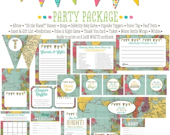 Adventure Awaits travel theme baby shower world map oh the places you'll go party package gender reveal party game   1294 Katiedid Designs