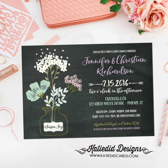 couples baby shower invitation tribal floral chalkboard gender reveal neutral coed girl sprinkle diaper wipes rustic | 1459 Katiedid designs