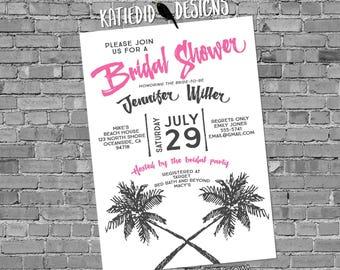 luau Hawaiian invitation tropical wedding save the date postcard Travel Theme Couples shower Bridal Rehearsal Dinner palm   372 Katiedid